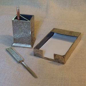 Vintage 3 Pc Silvertone Scroll Desk Set